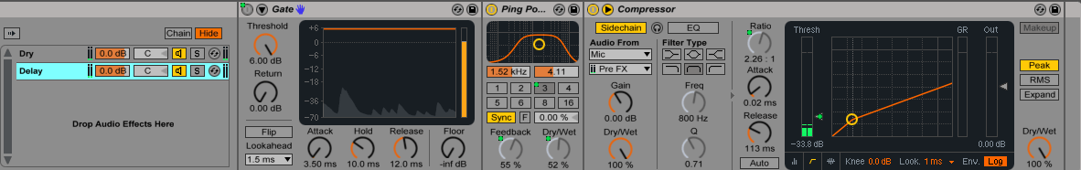 Gate, Ping Pong Delay és Compressor