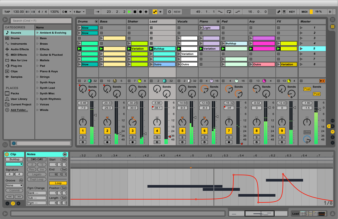 mix show Ableton